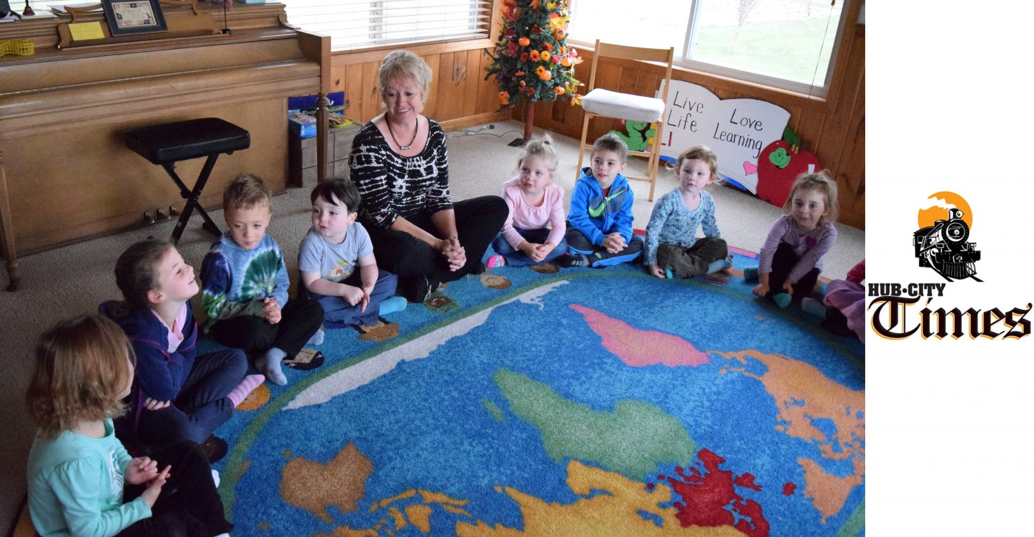 Marshfield's Children's House of Montessori owner/director/teacher Donna Milz conducts circle time on Monday, Oct. 26.