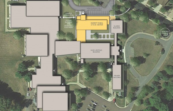 Highlighted in yellow is the planned STEM facility. The building's front entrance would face out toward Fifth Street. (Image courtesy of Bray Architects)