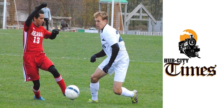 Columbus Catholic's Tyler Fuerlinger, right, dribbles past Arcadia's Jonathan Rodriguez early in a WIAA Division 4 boys soccer sectional semifinal Thursday at Griese Park in Marshfield. Fuerlinger scored three times, but the Dons lost 7-5.