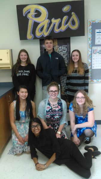 (Back row from left) Lilly Ackerman, Benjamin Le Page, Macy Perrine, (middle row from left) Kati Sadowska, Maggie Stangl, Samantha Bell, (bottom) Krupa Patel, and (not pictured) Logan Haws qualified for the state Concours Oral.