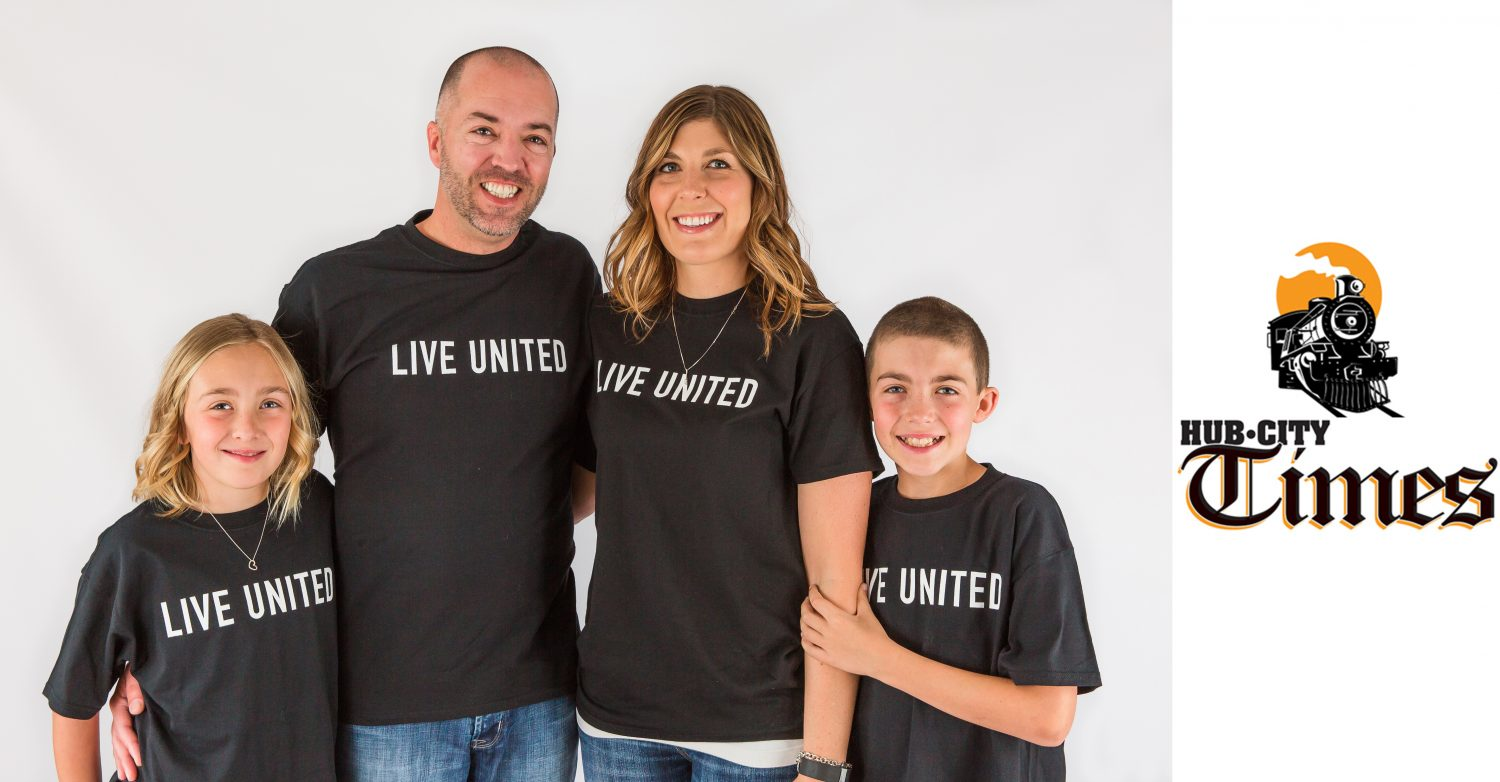 Chairing the Marshfield Area United Way's 2017 fundraising campaign is the Angell family (from left): Addie, Jason, Kim, and Parker Angell.