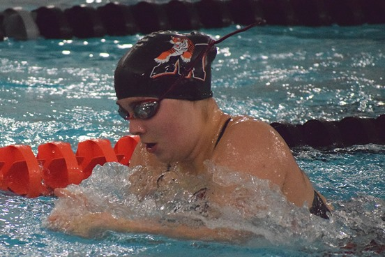 Marshfield freshman Kaitlin Alberts won the 100-yard butterfly during the Tigers' dual meet against Wausau East on Tuesday at Marshfield High School.